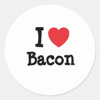 I love Bacon heart T-Shirt Round Sticker