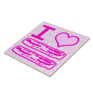I Love Bacon in Pink! Large Square Tile