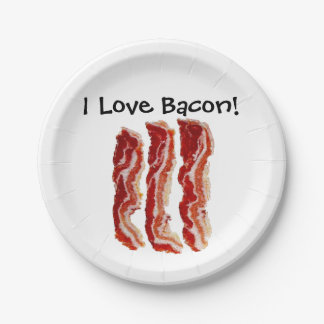 I Love Bacon 7 Inch Paper Plate