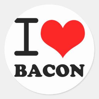 I love bacon round sticker