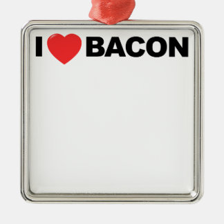 I Love Bacon Tee Shirt.png Silver-Colored Square Decoration