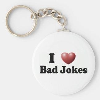 I Love Bad Jokes Basic Round Button Key Ring