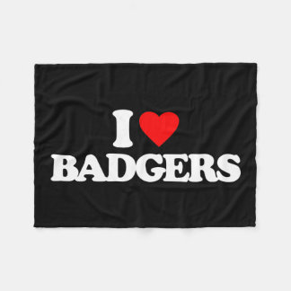 I LOVE BADGERS FLEECE BLANKET