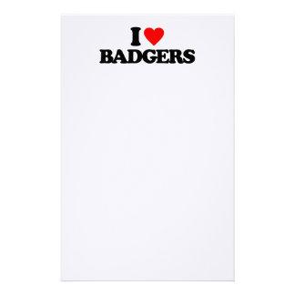 I LOVE BADGERS STATIONERY