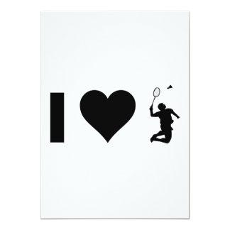 I Love Badminton 13 Cm X 18 Cm Invitation Card