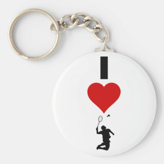 I Love Badminton (Vertical) Basic Round Button Key Ring
