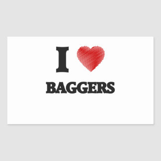 I love Baggers (Heart made from words) Rectangular Sticker