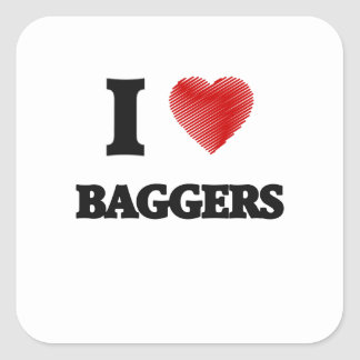 I love Baggers (Heart made from words) Square Sticker