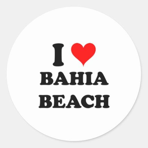 I Love Bahia Beach Round Sticker