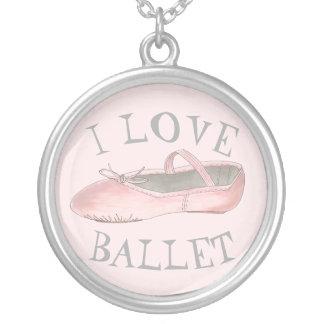 I Love Ballet Ballerina Pink Slipper Dance Teacher Silver Plated Necklace