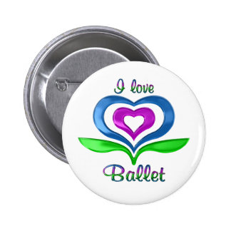 I Love Ballet Hearts 6 Cm Round Badge