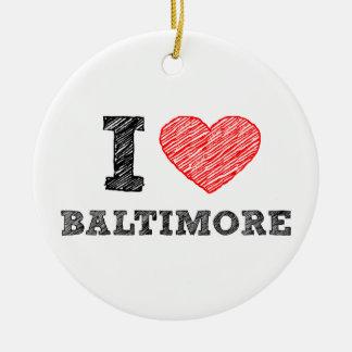 I-Love-Baltimore Round Ceramic Decoration
