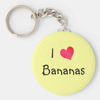 I Love Bananas Basic Round Button Key Ring