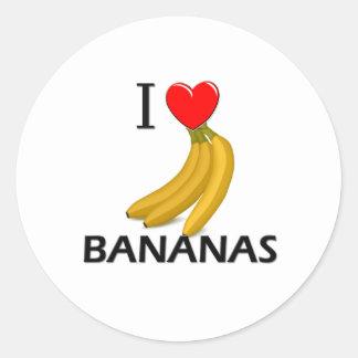I Love Bananas Round Sticker