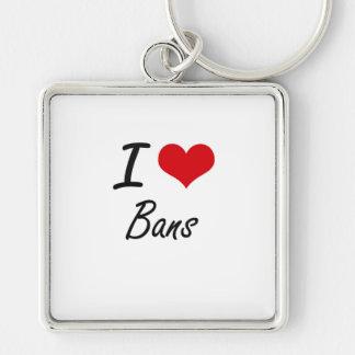 I Love Bans Artistic Design Silver-Colored Square Key Ring