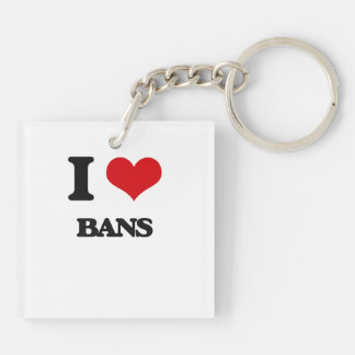 I Love Bans Square Acrylic Key Chain