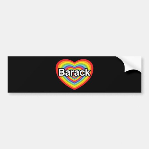 I love Barack Obama: rainbow heart Bumper Stickers