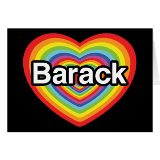 I love Barack Obama: rainbow heart Cards