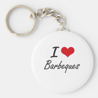 I Love Barbeques Artistic Design Basic Round Button Key Ring