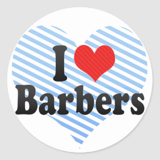 I Love Barbers Classic Round Sticker