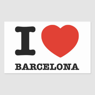 I Love Barcelona Rectangular Sticker