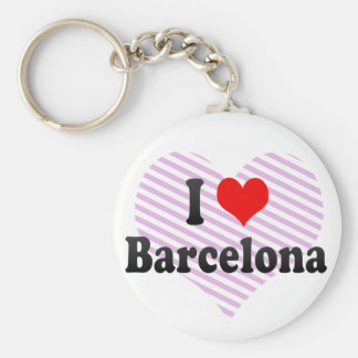 I Love Barcelona, Spain Basic Round Button Key Ring