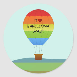 """I Love Barcelona, Spain"" Hot Air Balloon Classic Round Sticker"