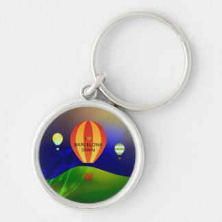I Love Barcelona Spain Hot Air Balloon Silver-Colored Round Key Ring