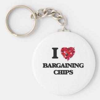 I Love Bargaining Chips Basic Round Button Key Ring