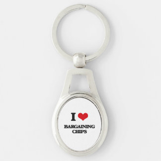 I Love Bargaining Chips Silver-Colored Oval Key Ring