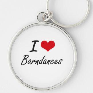 I Love BARNDANCES Silver-Colored Round Key Ring