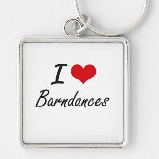 I Love BARNDANCES Silver-Colored Square Key Ring