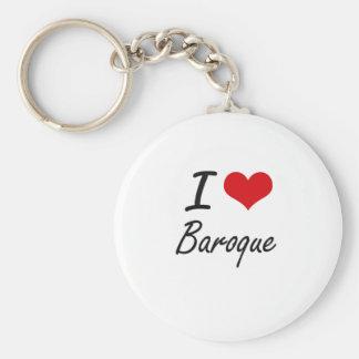 I Love BAROQUE Basic Round Button Key Ring