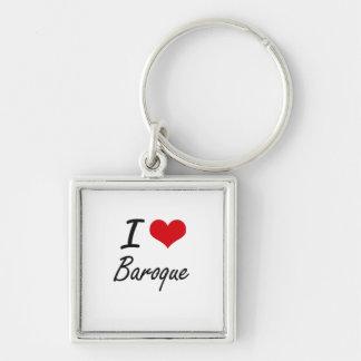 I Love BAROQUE Silver-Colored Square Key Ring