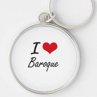 I Love BAROQUE Silver-Colored Round Key Ring