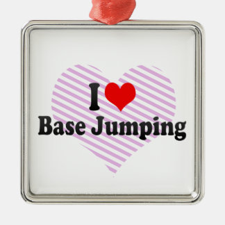 I love Base Jumping Silver-Colored Square Decoration
