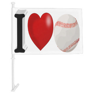 I Love Baseball 3D Car Flag
