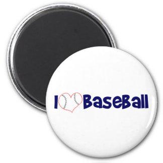 I love baseball 6 cm round magnet