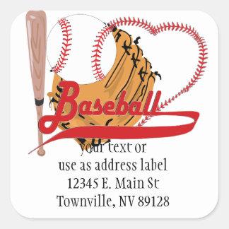 I Love Baseball - Ball, Bat, Baseball Glove Square Sticker