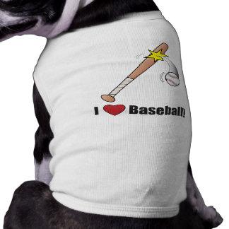 I Love Baseball!: Baseball Bat Hitting Ball Sleeveless Dog Shirt