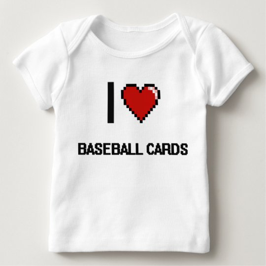 I Love Baseball Cards Digital Retro Design Baby T-Shirt