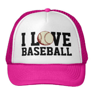 I love Baseball Hot Pink Ladies Trucker Hat