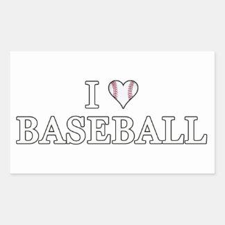 I Love Baseball Rectangular Sticker