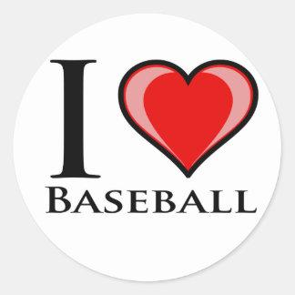I Love Baseball Round Sticker