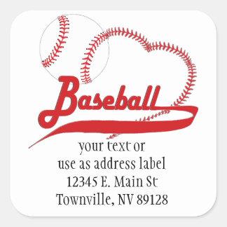 I Love Baseball Square Sticker