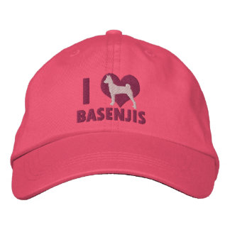 I Love Basenjis Embroidered Hat (Pink)