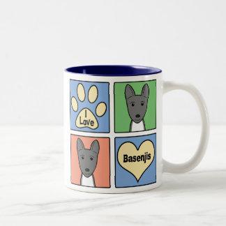 I Love Basenjis Two-Tone Coffee Mug