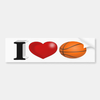 I Love Basketball 3D Bumper Sticker