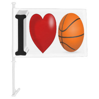 I Love Basketball 3D Car Flag