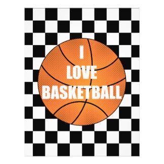 I love basketball black white checkers 21.5 cm x 28 cm flyer